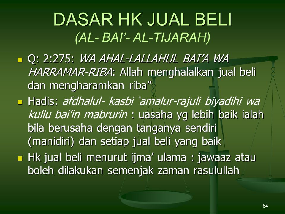 DASAR HK JUAL BELI (AL- BAI'- AL-TIJARAH)