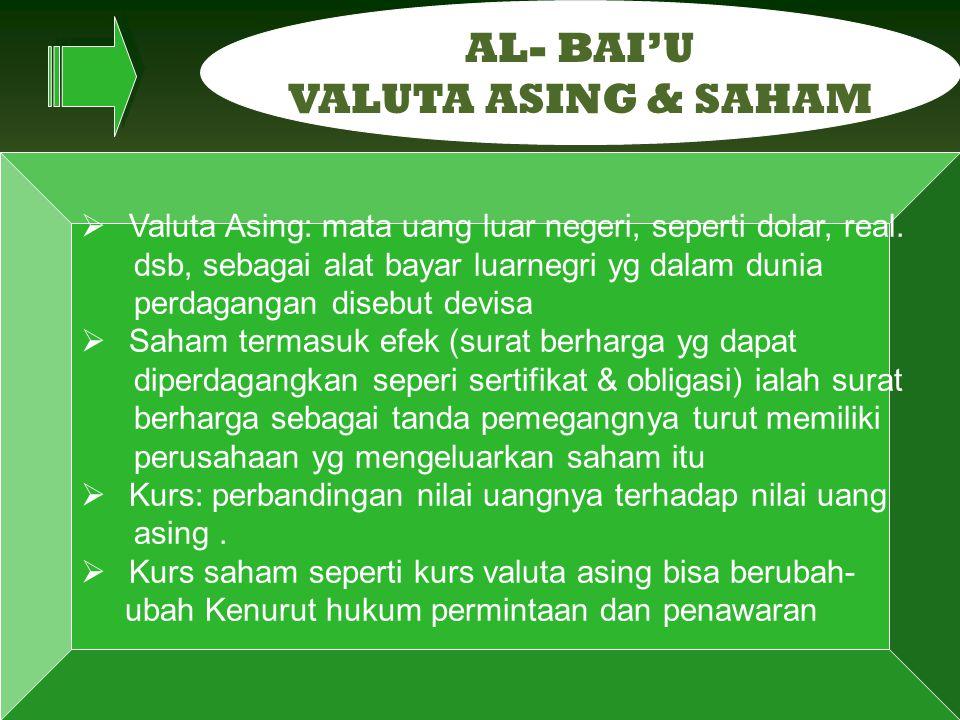 AL- BAI'U VALUTA ASING & SAHAM