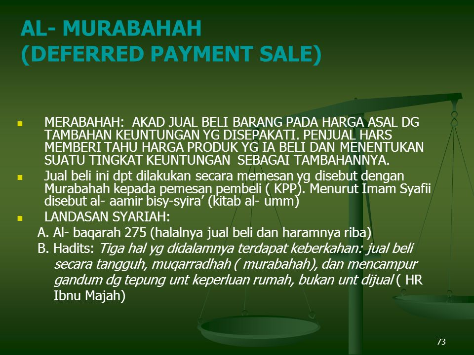 (DEFERRED PAYMENT SALE)
