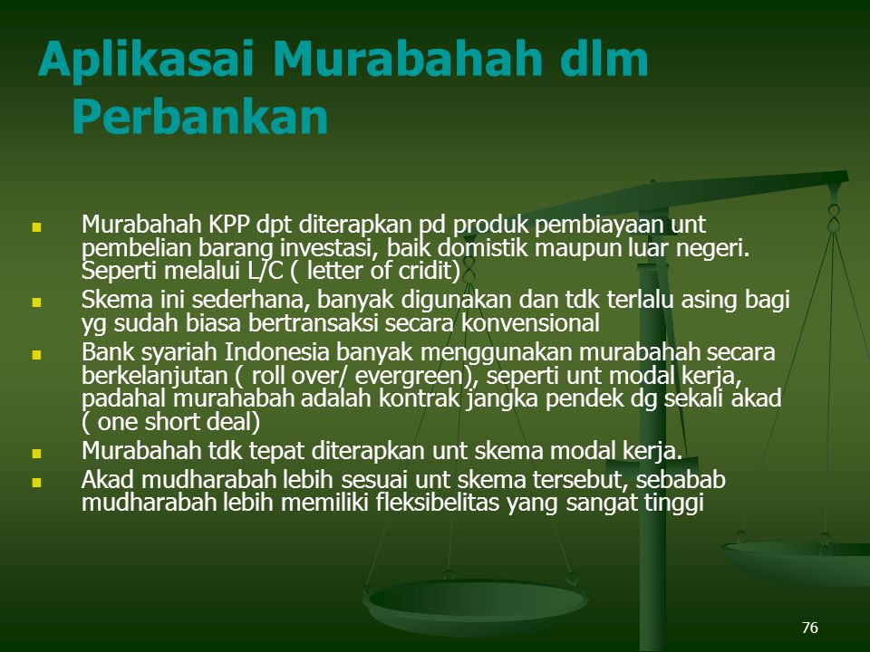 Aplikasai Murabahah dlm Perbankan