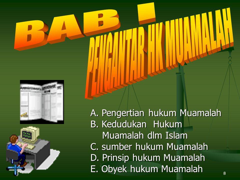 BAB I PENGANTAR HK MUAMALAH A. Pengertian hukum Muamalah