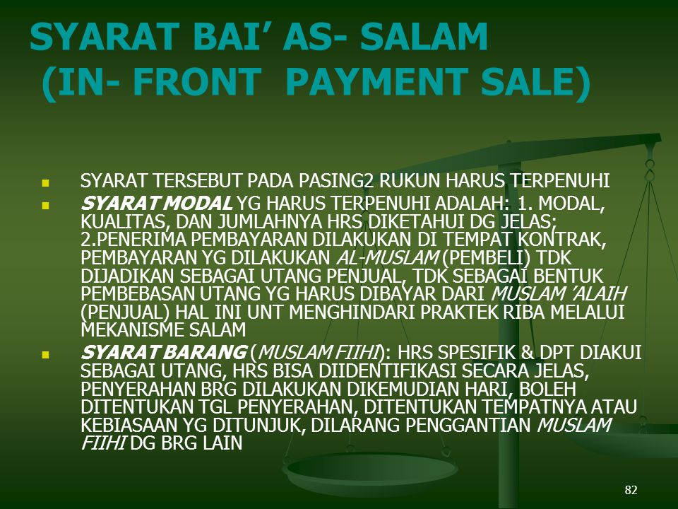 (IN- FRONT PAYMENT SALE)