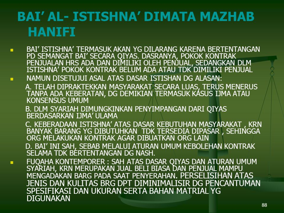 BAI' AL- ISTISHNA' DIMATA MAZHAB HANIFI