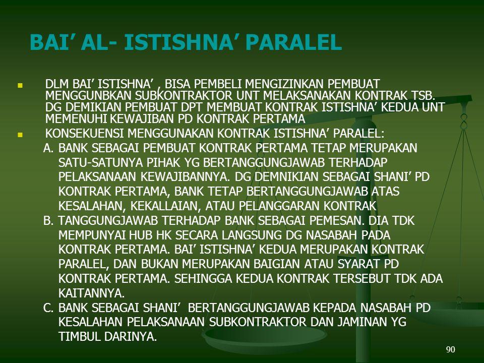 BAI' AL- ISTISHNA' PARALEL