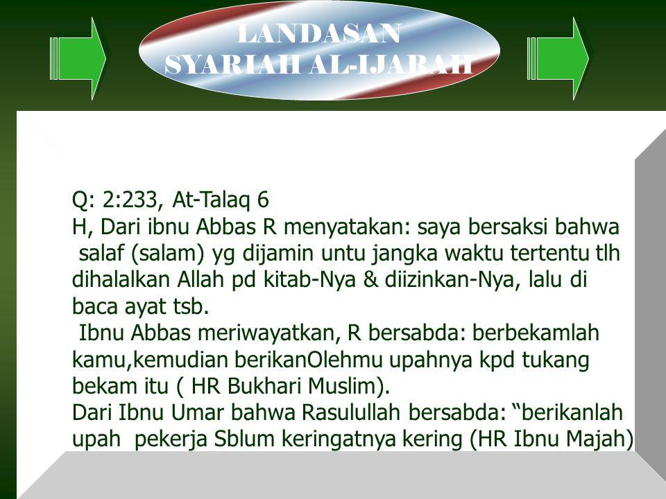 LANDASAN SYARIAH AL-IJARAH Q: 2:233, At-Talaq 6