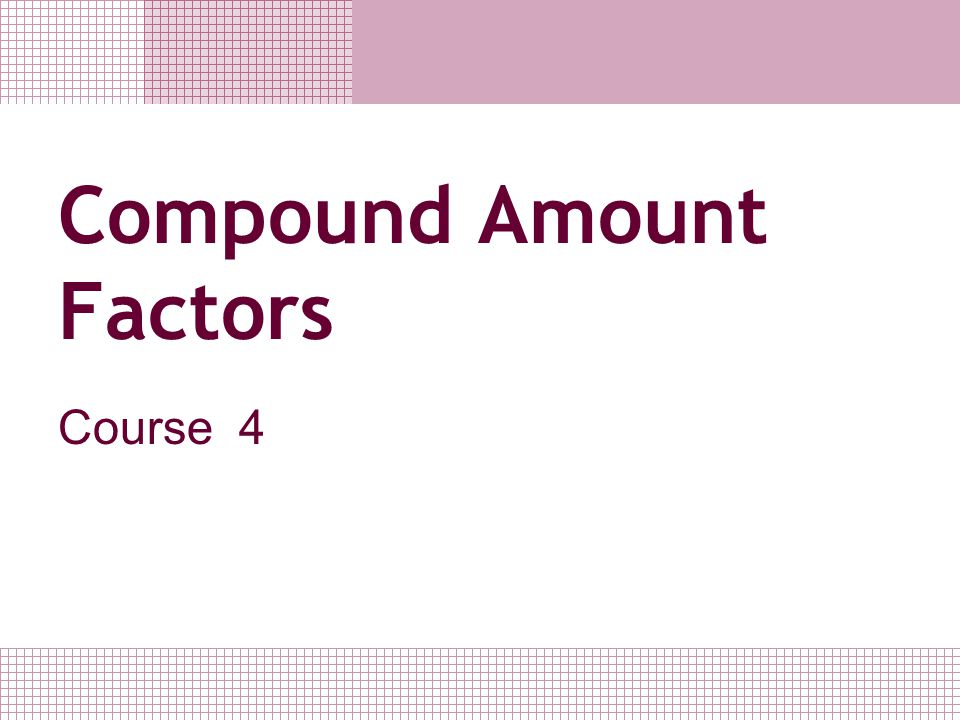 Compound Amount Factors