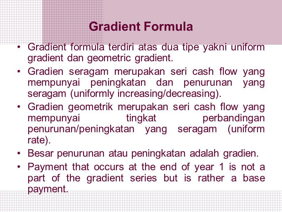 Gradient Formula Gradient formula terdiri atas dua tipe yakni uniform gradient dan geometric gradient.