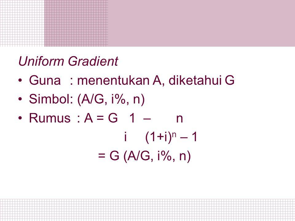 Uniform Gradient Guna : menentukan A, diketahui G. Simbol : (A/G, i%, n) Rumus : A = G 1 – n.