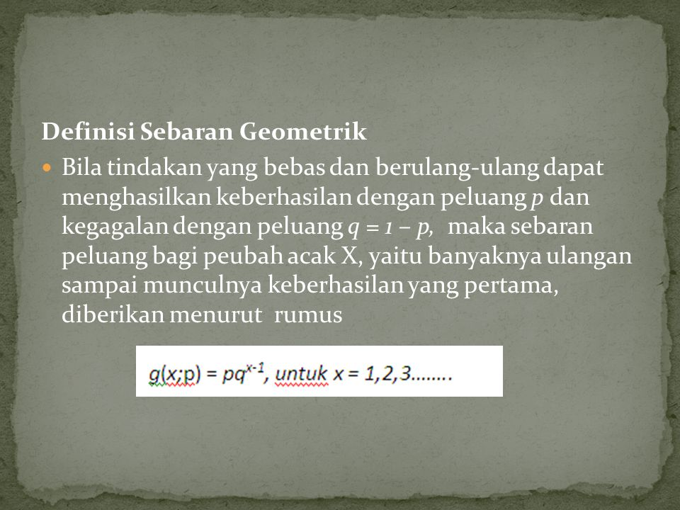 Definisi Sebaran Geometrik