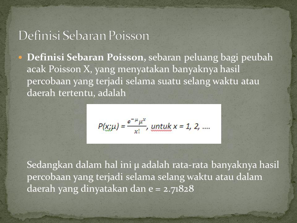 Definisi Sebaran Poisson