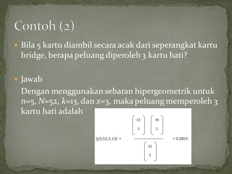 Contoh (2) Bila 5 kartu diambil secara acak dari seperangkat kartu bridge, berapa peluang diperoleh 3 kartu hati