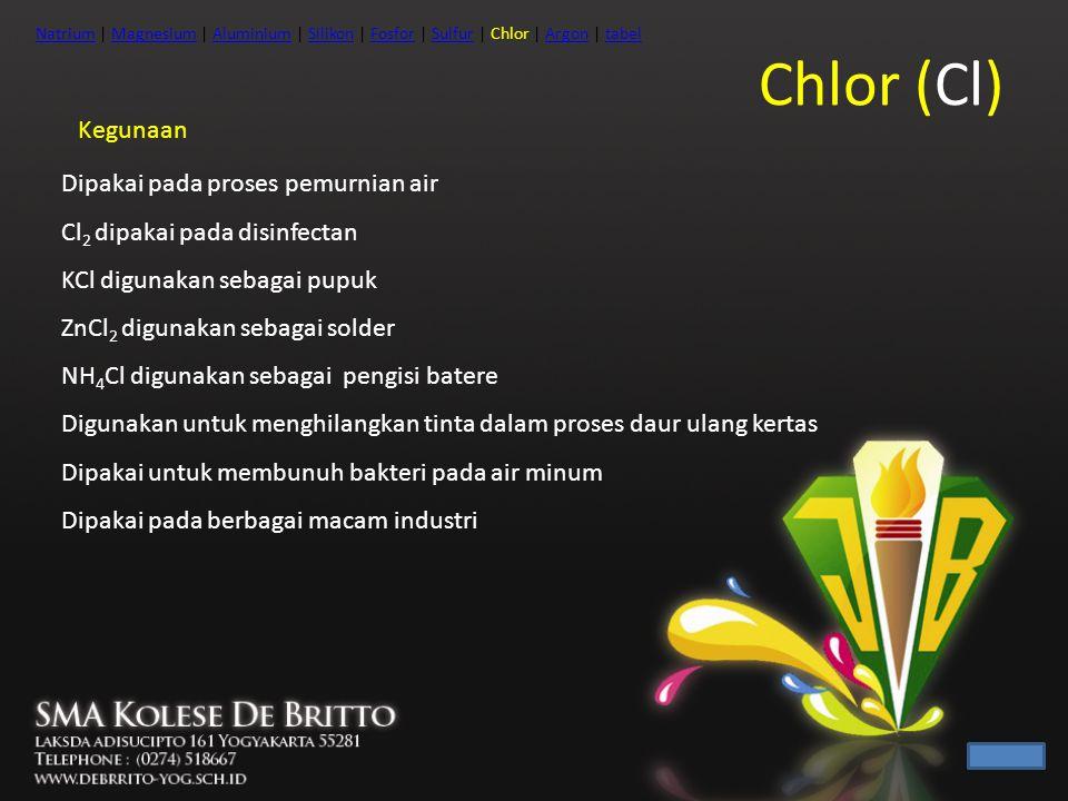 Chlor (Cl) Kegunaan Dipakai pada proses pemurnian air