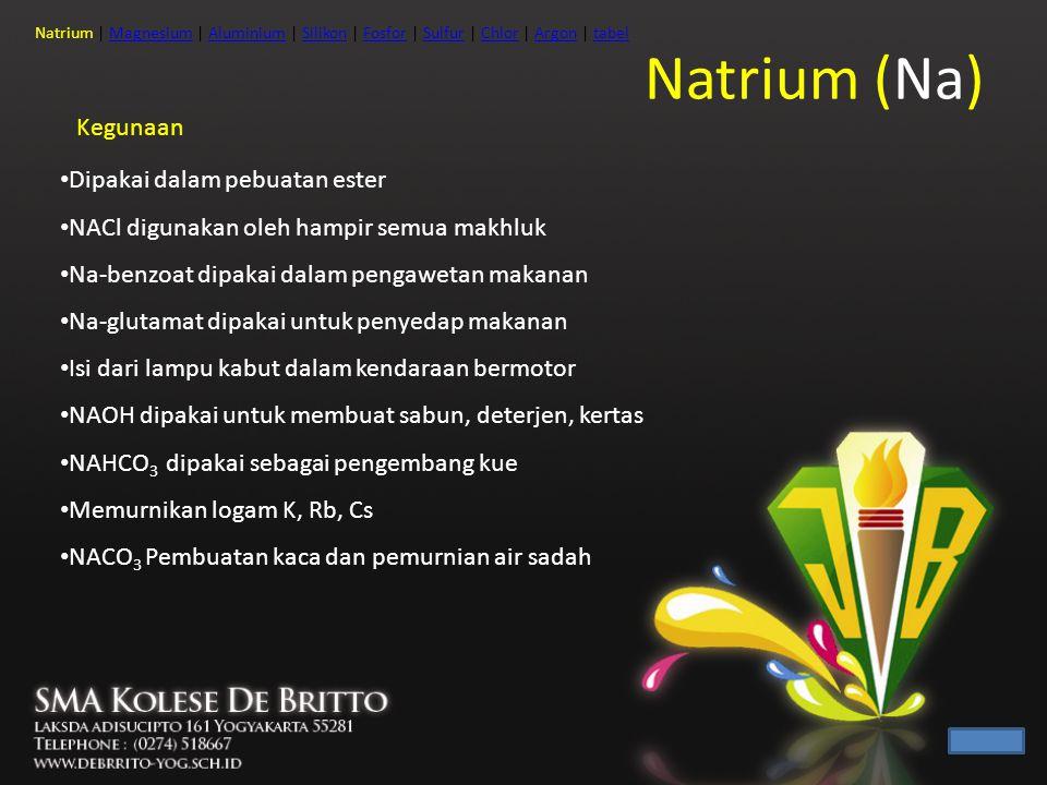 Natrium (Na) Kegunaan Dipakai dalam pebuatan ester