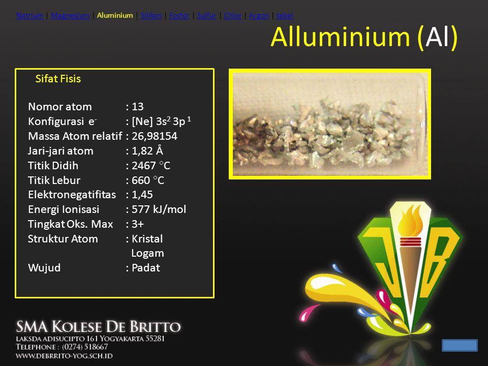 Alluminium (Al) Sifat Fisis Nomor atom : 13