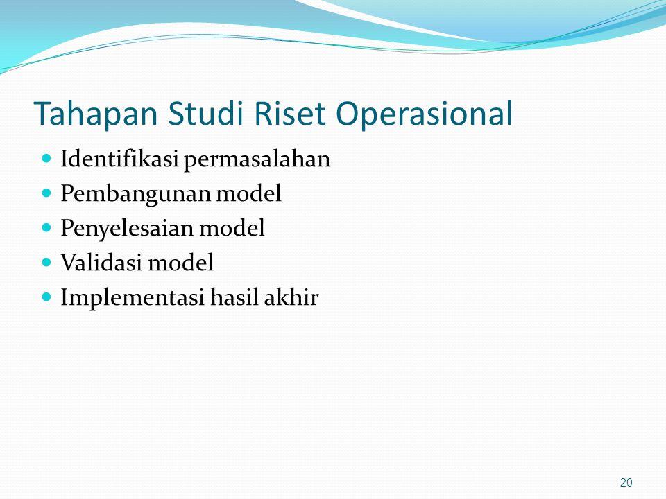Tahapan Studi Riset Operasional