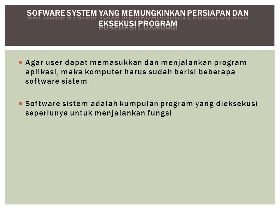 Sofware system yang memungkinkan persiapan dan eksekusi program