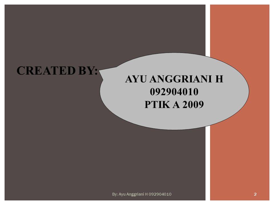 CREATED BY: AYU ANGGRIANI H 092904010 PTIK A 2009