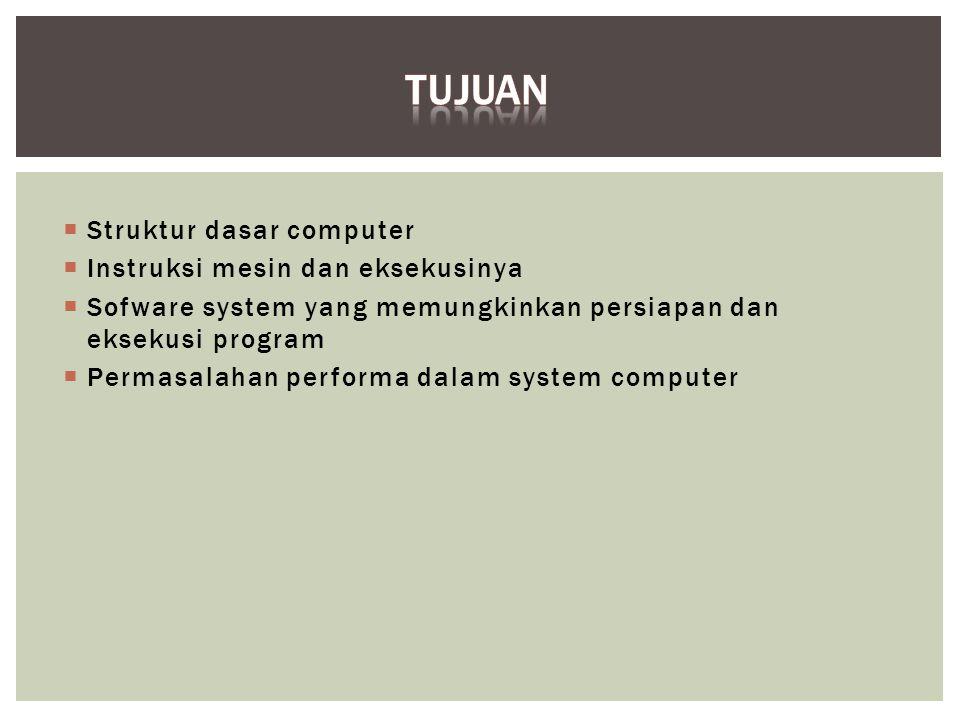 Tujuan Struktur dasar computer Instruksi mesin dan eksekusinya