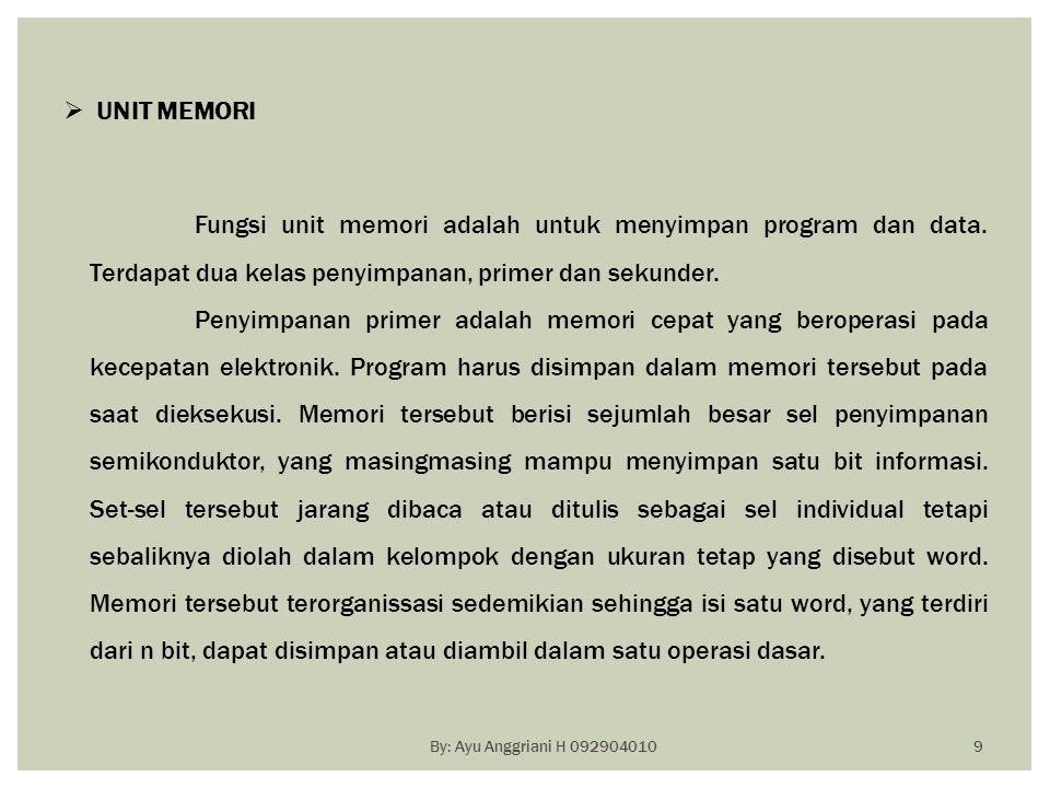 UNIT MEMORI Fungsi unit memori adalah untuk menyimpan program dan data. Terdapat dua kelas penyimpanan, primer dan sekunder.