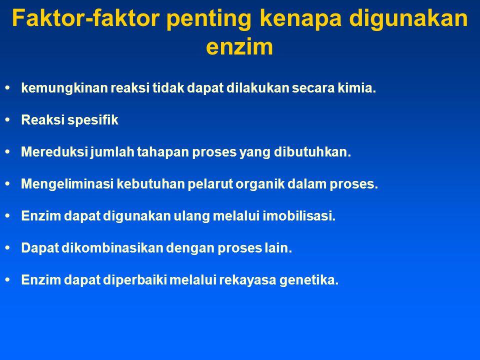 Faktor-faktor penting kenapa digunakan enzim