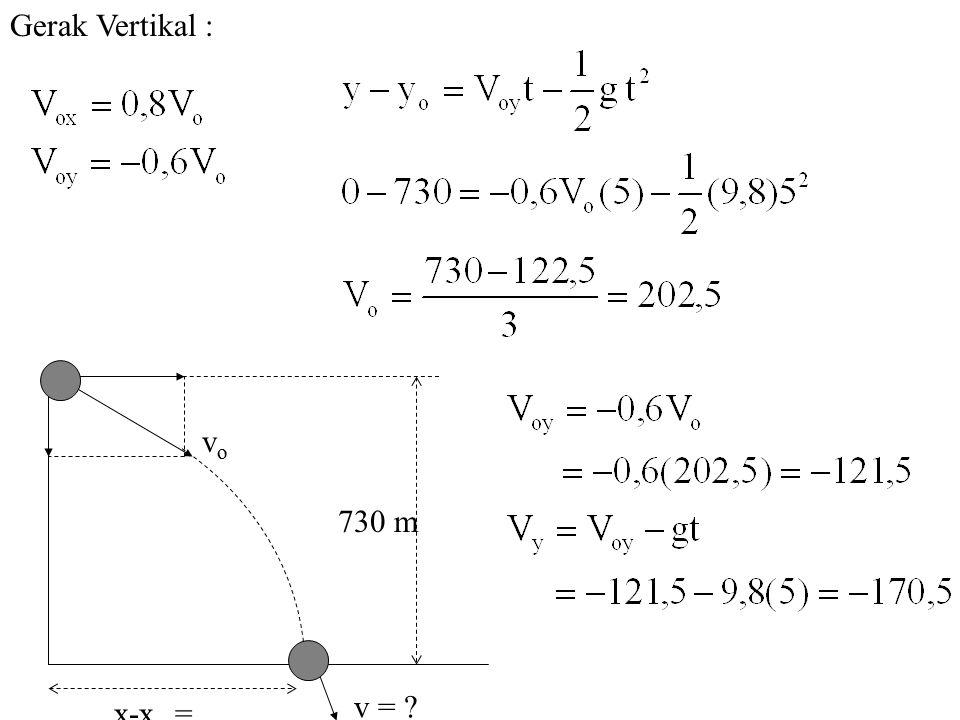 Gerak Vertikal : v = x-xo = vo 730 m