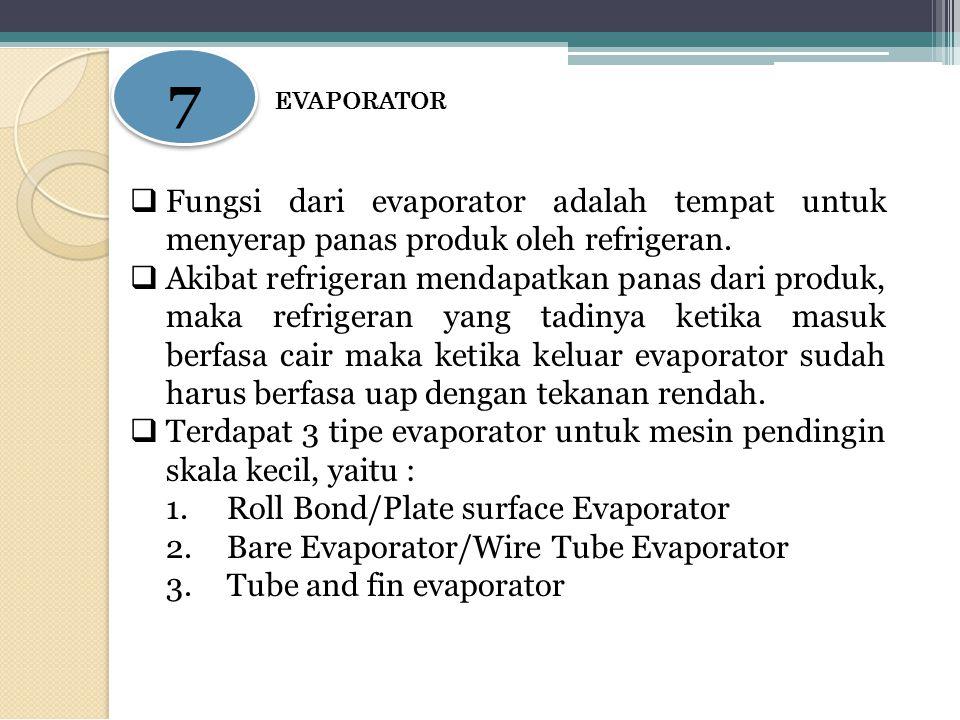 7 EVAPORATOR. Fungsi dari evaporator adalah tempat untuk menyerap panas produk oleh refrigeran.