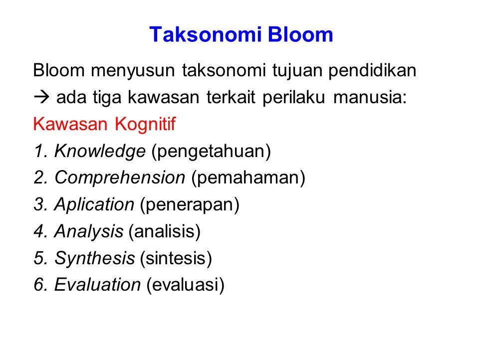 Taksonomi Bloom Bloom menyusun taksonomi tujuan pendidikan