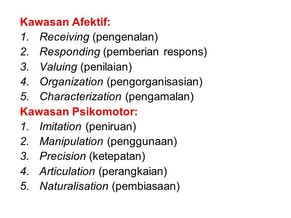 Kawasan Afektif: Receiving (pengenalan) Responding (pemberian respons) Valuing (penilaian) Organization (pengorganisasian)