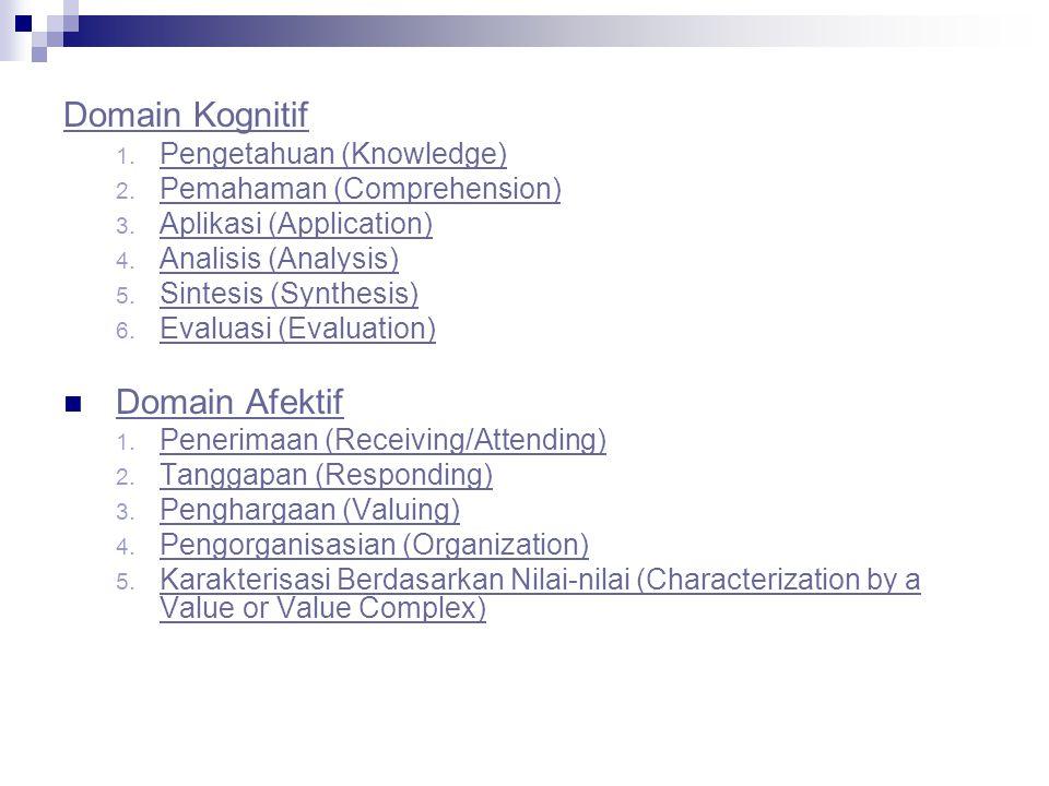 Domain Kognitif Domain Afektif Pengetahuan (Knowledge)