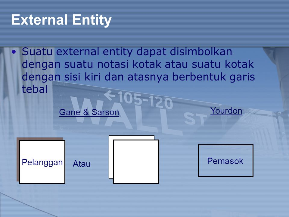 External Entity Suatu external entity dapat disimbolkan dengan suatu notasi kotak atau suatu kotak dengan sisi kiri dan atasnya berbentuk garis tebal.