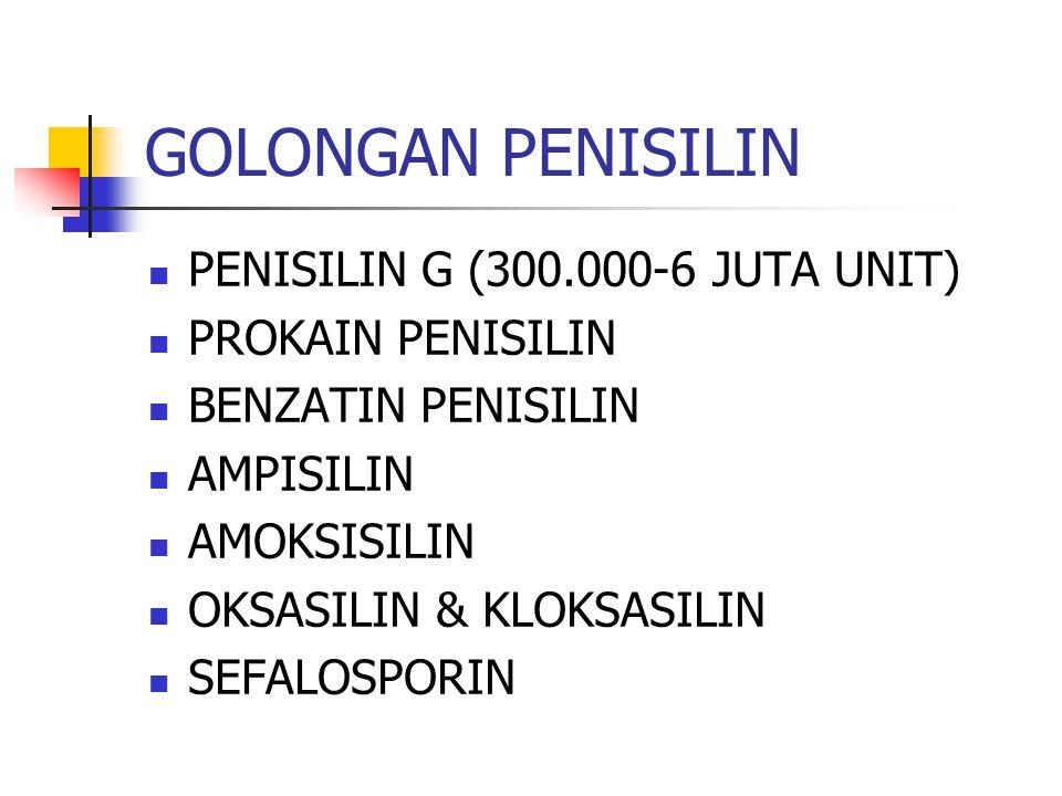GOLONGAN PENISILIN PENISILIN G (300.000-6 JUTA UNIT) PROKAIN PENISILIN