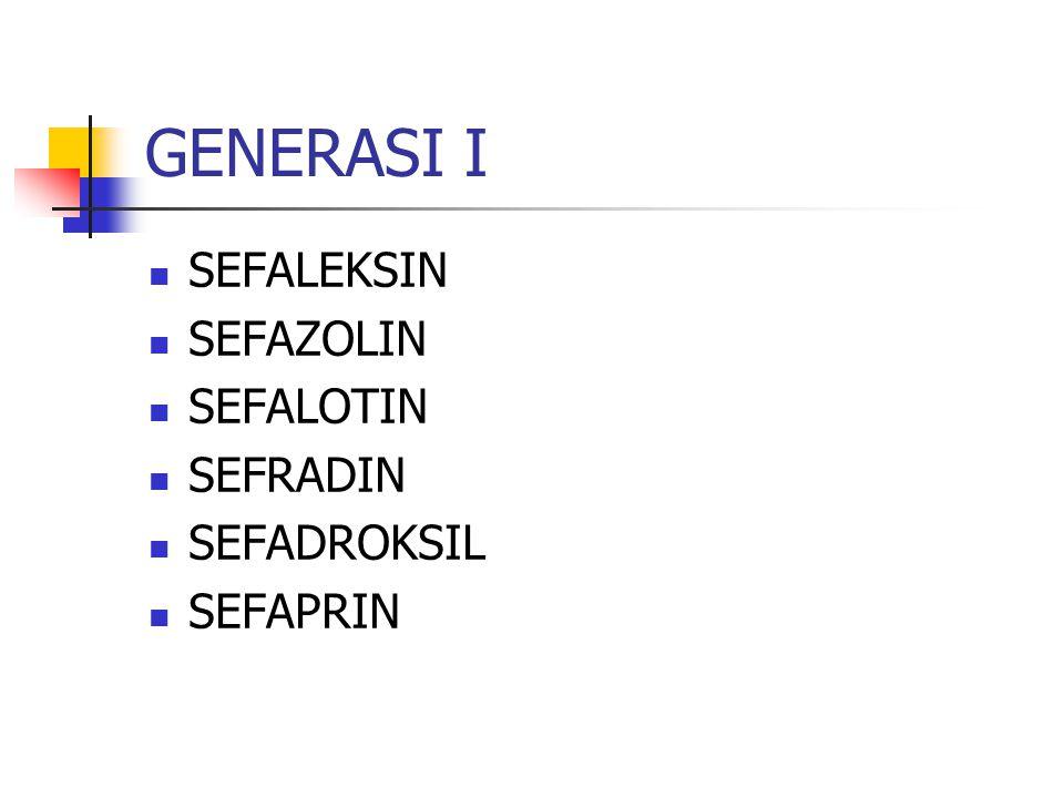 GENERASI I SEFALEKSIN SEFAZOLIN SEFALOTIN SEFRADIN SEFADROKSIL
