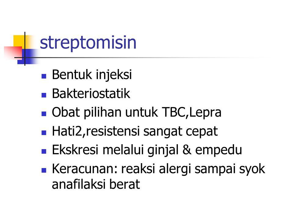 streptomisin Bentuk injeksi Bakteriostatik
