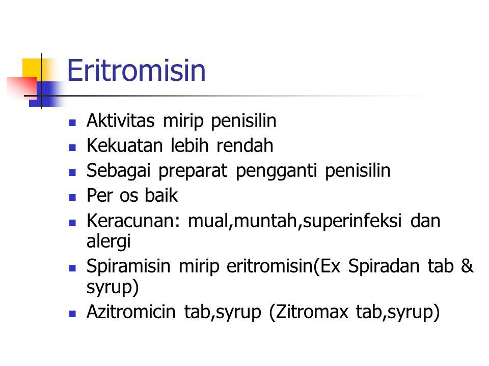 Eritromisin Aktivitas mirip penisilin Kekuatan lebih rendah