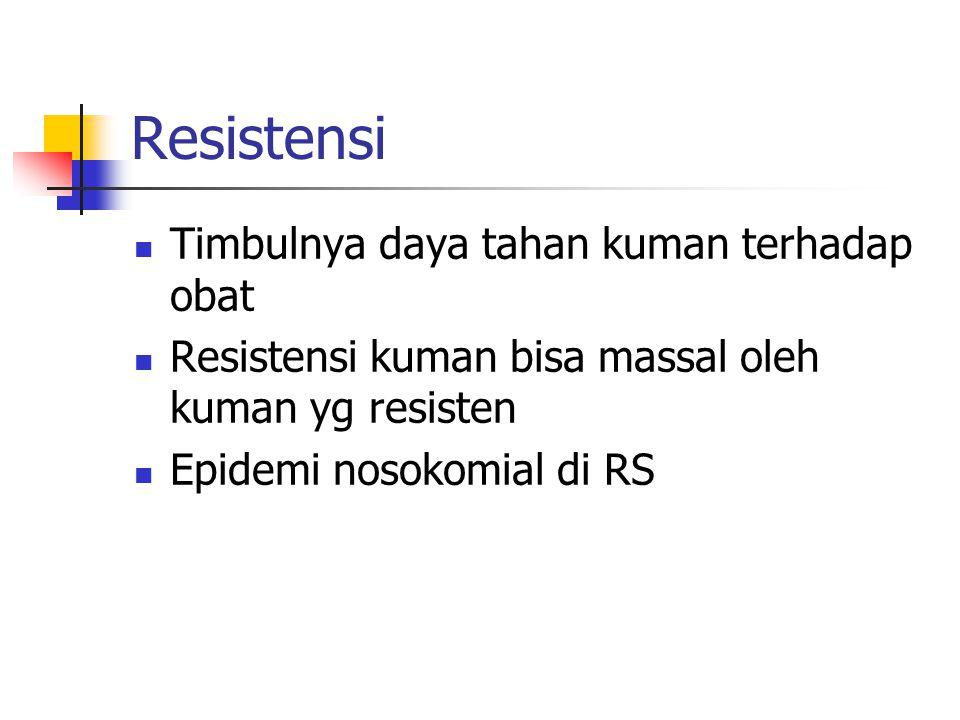 Resistensi Timbulnya daya tahan kuman terhadap obat