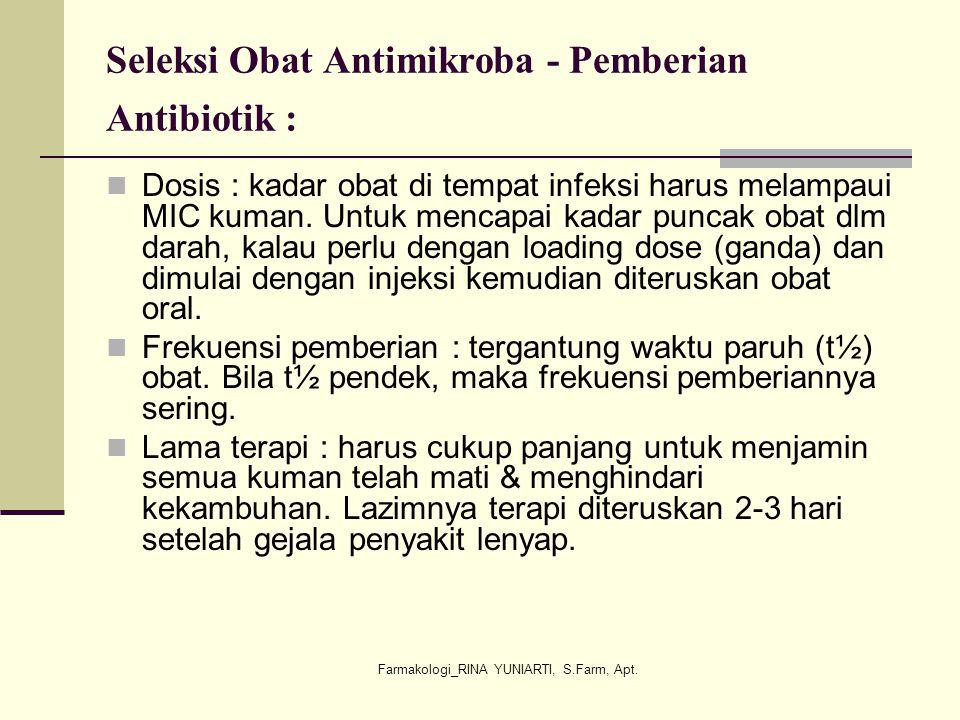 Seleksi Obat Antimikroba - Pemberian Antibiotik :