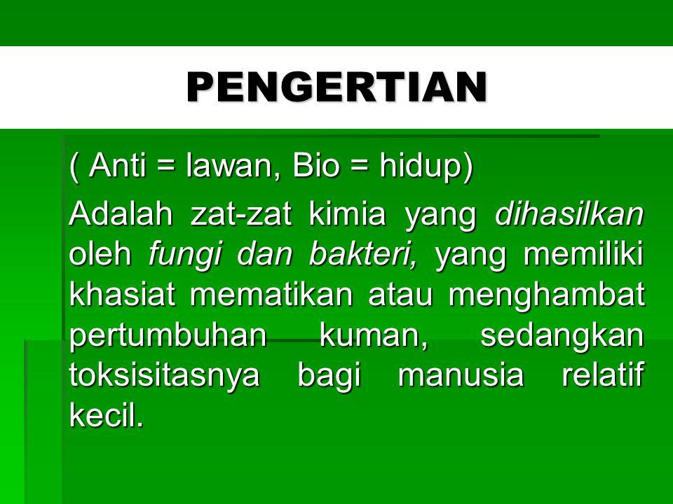 PENGERTIAN ( Anti = lawan, Bio = hidup)