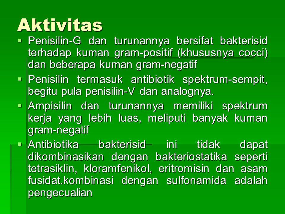 Aktivitas Penisilin-G dan turunannya bersifat bakterisid terhadap kuman gram-positif (khususnya cocci) dan beberapa kuman gram-negatif.