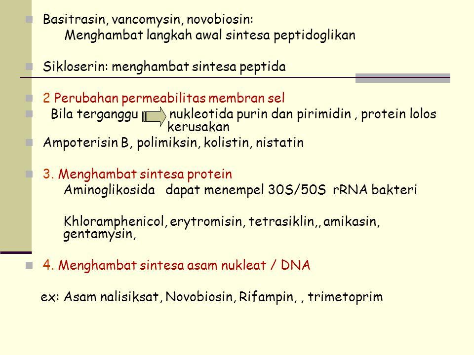 Basitrasin, vancomysin, novobiosin: