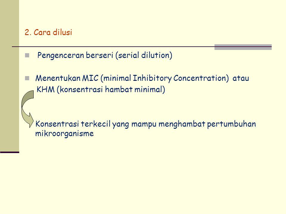 2. Cara dilusi Pengenceran berseri (serial dilution) Menentukan MIC (minimal Inhibitory Concentration) atau.