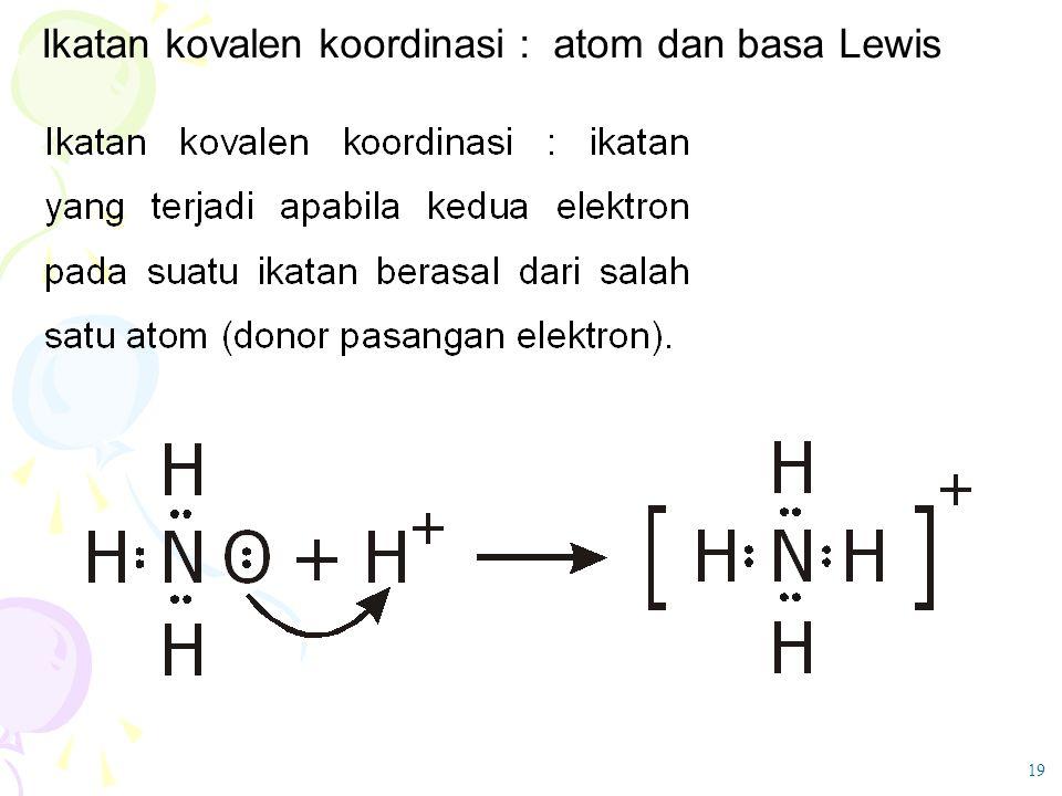 Ikatan kovalen koordinasi : atom dan basa Lewis