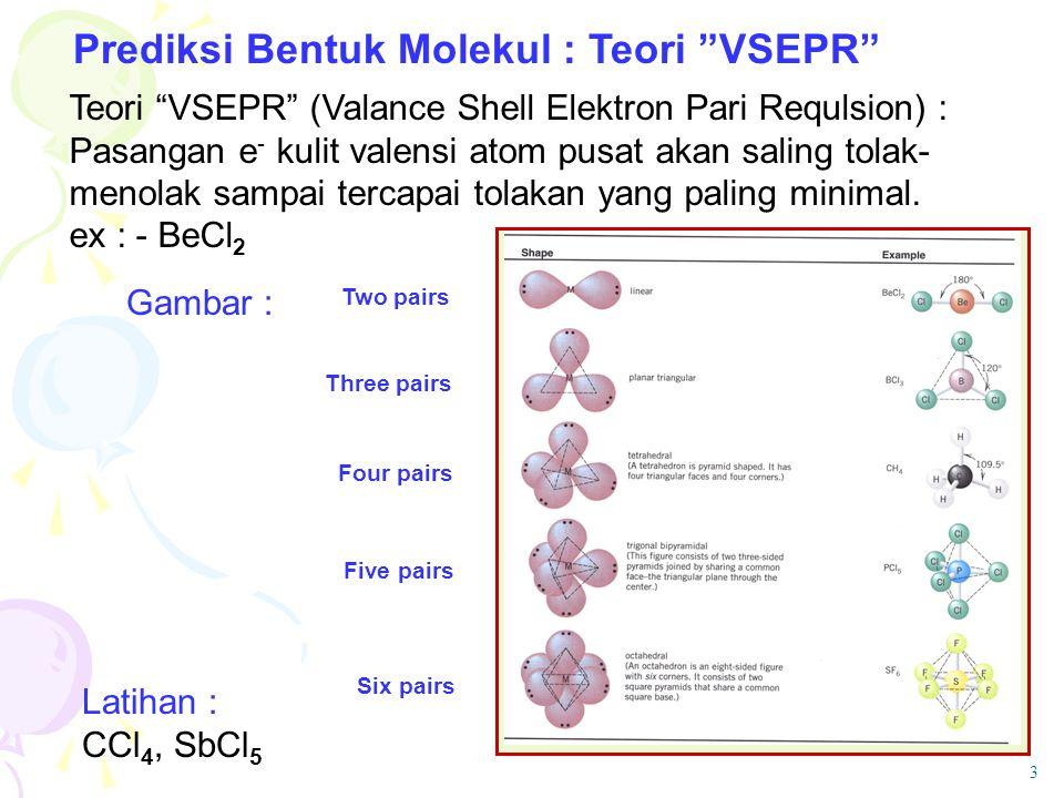 Prediksi Bentuk Molekul : Teori VSEPR