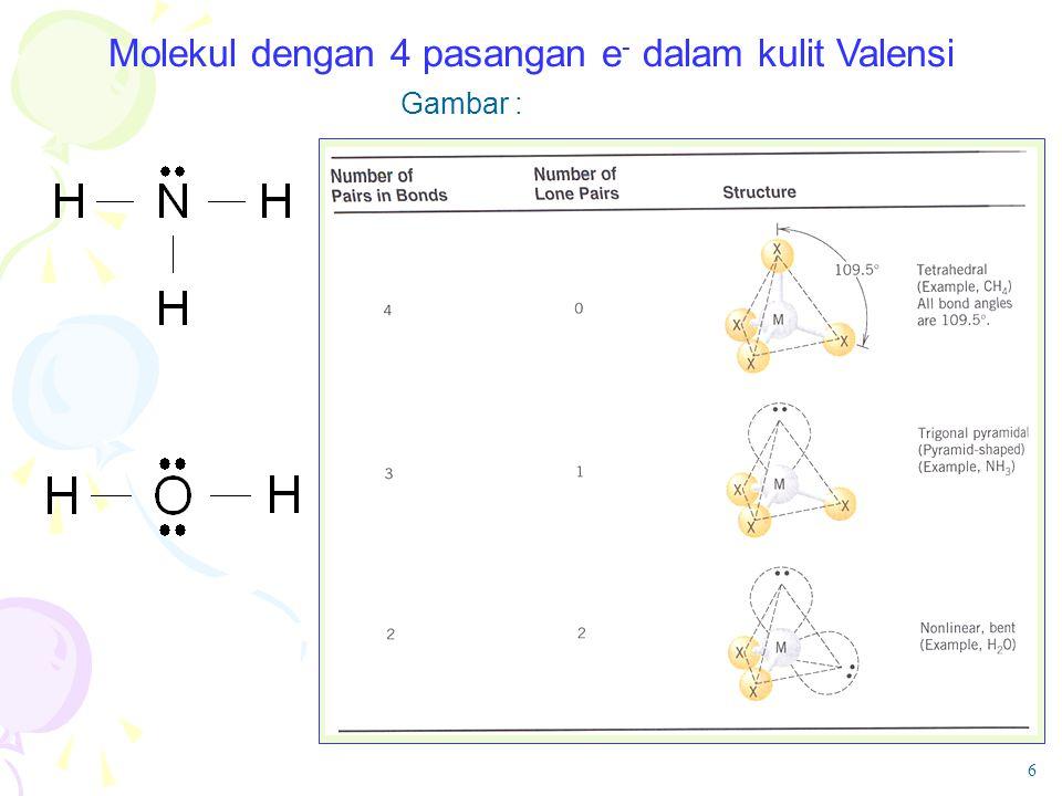 Molekul dengan 4 pasangan e- dalam kulit Valensi