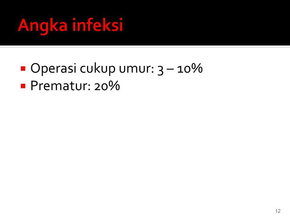 Angka infeksi Operasi cukup umur: 3 – 10% Prematur: 20%