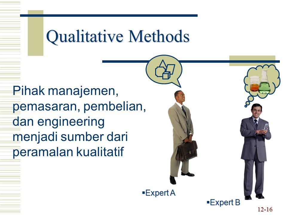 Qualitative Methods Pihak manajemen, pemasaran, pembelian, dan engineering menjadi sumber dari peramalan kualitatif.