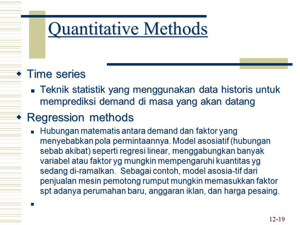 Quantitative Methods Time series Regression methods