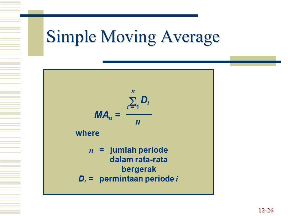 n = jumlah periode dalam rata-rata bergerak Di = permintaan periode i