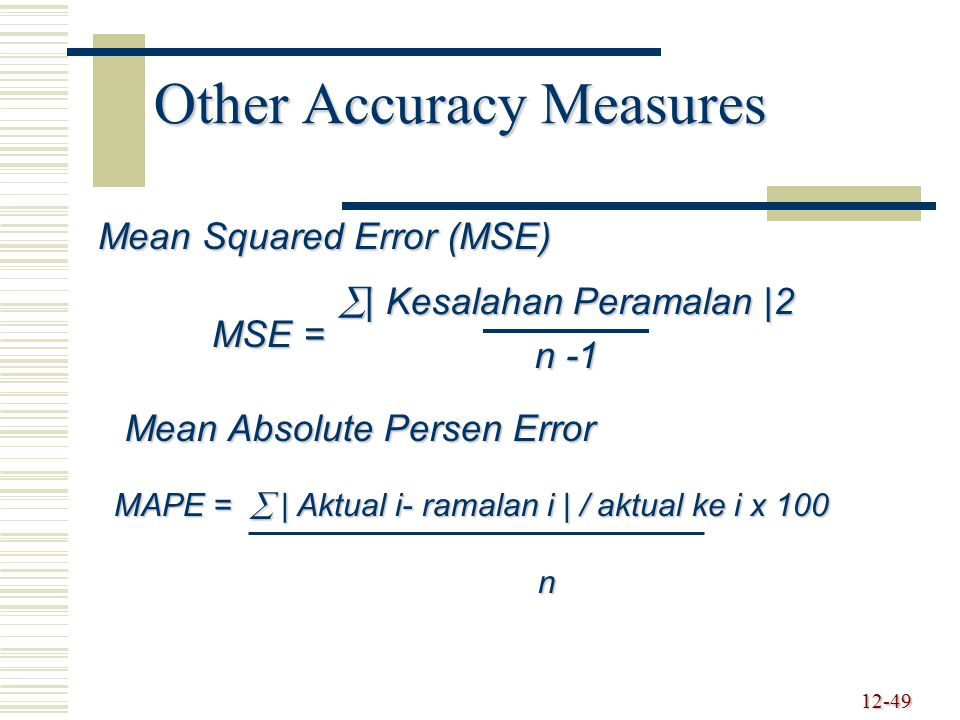 Other Accuracy Measures