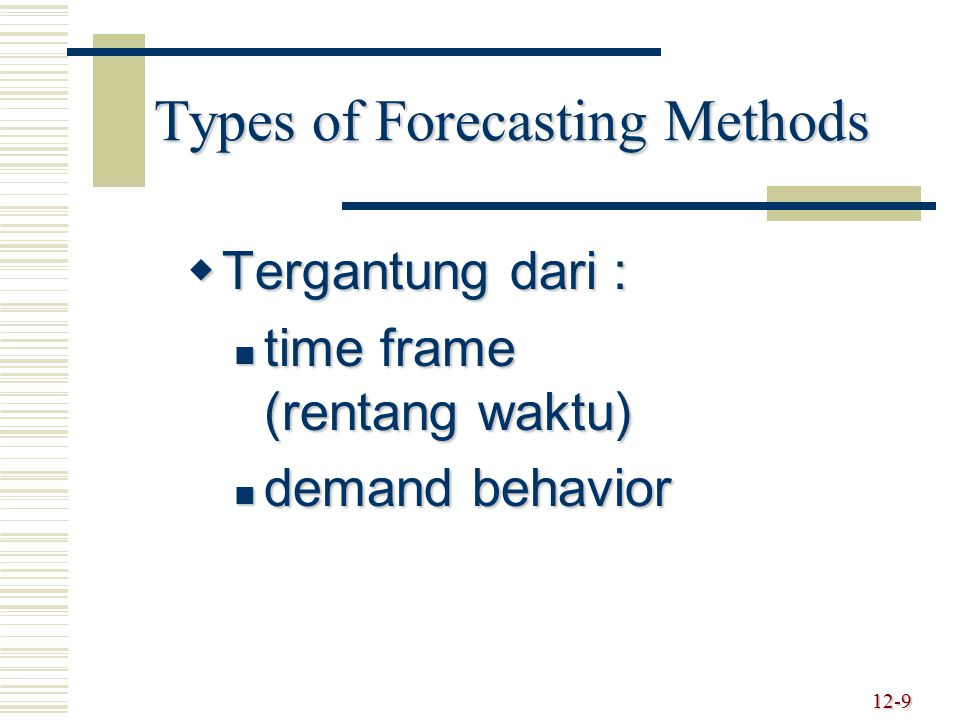Types of Forecasting Methods