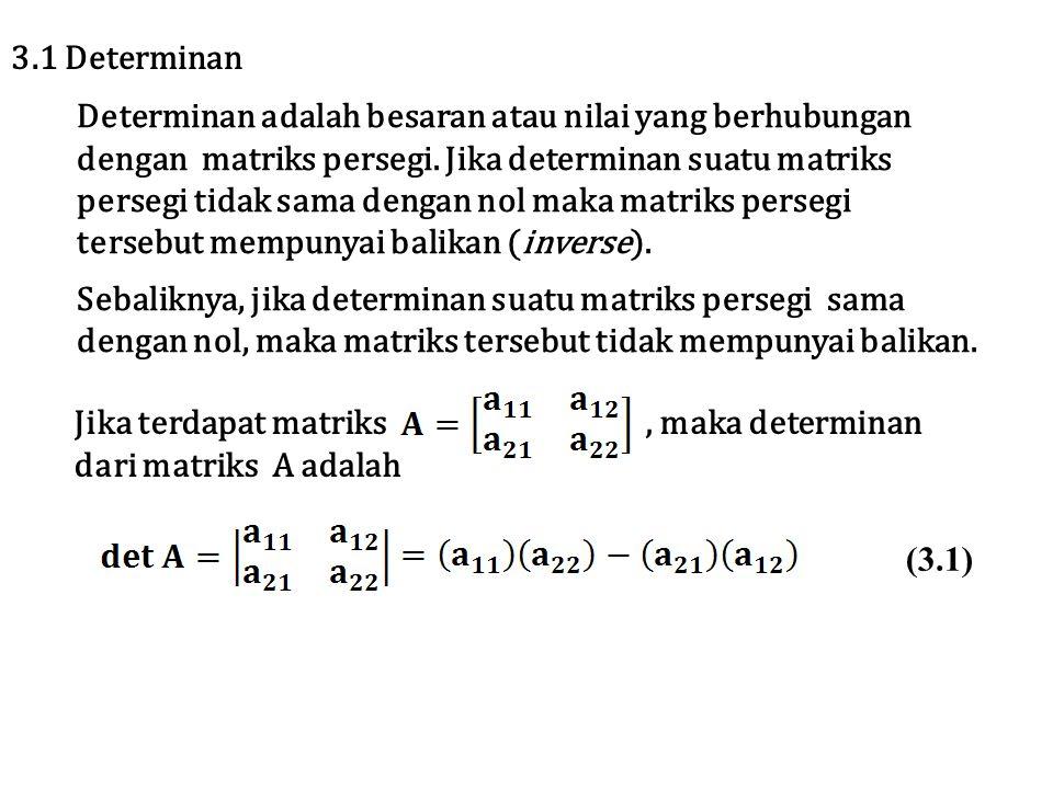 3.1 Determinan Determinan adalah besaran atau nilai yang berhubungan. dengan matriks persegi. Jika determinan suatu matriks.